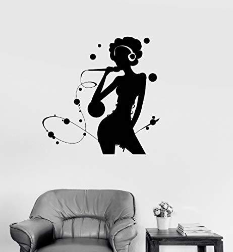 Abnehmbare Vinyl Home Decoration Aufkleber Karaoke Silhouette Frau Pop Musik Sänger Wandaufkleber Kunst Wandbilder Poster 56X56CM