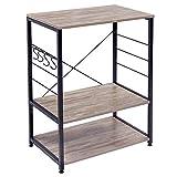 WOLTU RGB9309dc Küchenregal Standregal Mikrowellenhalter Bäcker Regal Metallregal aus Holz und Stahl, mit 3 Ablagen, ca. 60 x 40 x 82 cm, Schwarz + Dunkelbuche