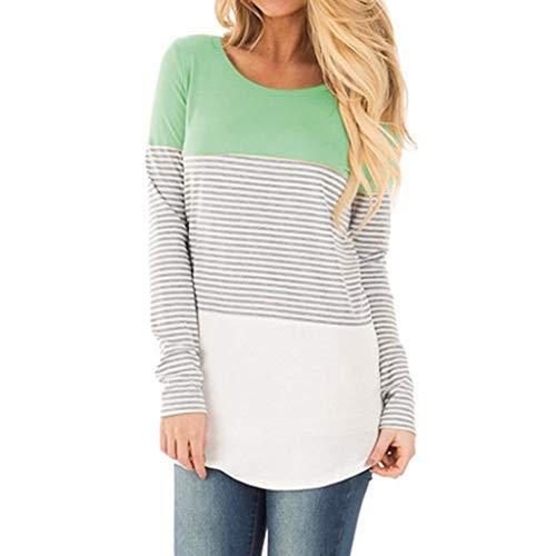 Shirt , BeiläUfiges LangäRmliges Gestreiftes T-Shirt O-Ausschnitt Patchwork-Bluse Top Bottom Pullover(GrüN,Large) ()