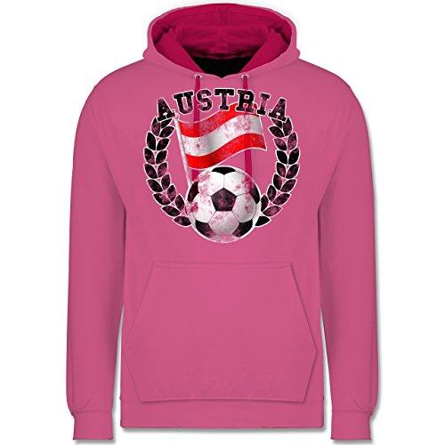Shirtracer Fußball - Austria Flagge & Fußball Vintage - M - Rosa/Fuchsia - JH003 - Kontrast Hoodie