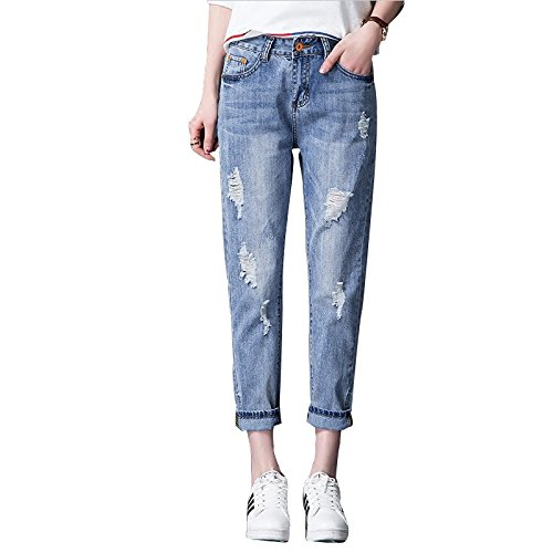 mdrw-college Studenten Kragenhalskette Zerrissene Jeans Lose Slim Hose New Wind Spring Tide, hellblau (Lose Jeans Gerade)