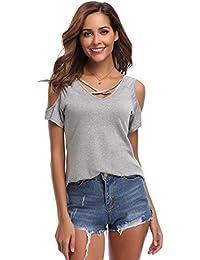 Tee Shirt Femme Haut Femme Col V Bouton Manches Courtes Décolleté Été Sport Top Chic T Shirt Femme Tricot Coton Respirant