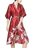 FEOYA - Robe de Chambre Longue Kimono Femme Manches 1/2 en Soie Artificielle Robe de Nuit avec Ceinture Couleur Bourgogne...