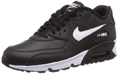 Nike Mädchen Air Max 90 Leather Laufschuhe, Schwarz (Black/White/Anthracite 025), 39 EU (Jordan Air Laufschuhe)