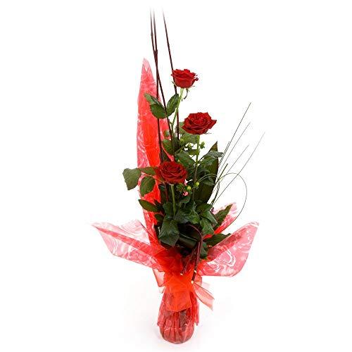 Fiori freschi a domicilio - mazzo di 3 rose rosse fresche a gambo lungo, arricchite da gipsophila, verde di stagione, adornate da un fiocco rosso, consegnato a domicilio