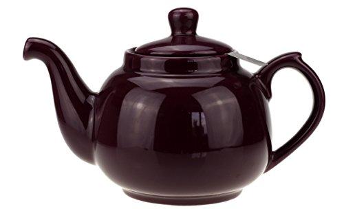 """Teekanne """"Notting Hill"""" aus Keramik mit nicht-tropfendem Ausguss und Teesieb aus Edelstahl (Aubergine)"""