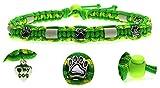 KulturGUT-shop Halsband (39cm - 49cm) - mit EM Perlen, aus Paracord Seil geknüpft mit stylischen Schmuckelementen, für Hunde und Katzen. Grün/Gelb Nr. 8