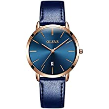 OLEVS Women Wrist Watches Ultra Thin 6.5mm Minimalist Business Dress Waterproof Date Blue Leather Blue Face Strap Slim Watches for Women