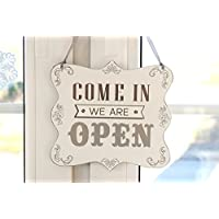 We are OPEN / We are CLOSED - double sided shop door hanging wood sign
