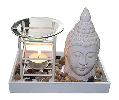 Duftlampe Buddha, Aromalampe Teelichthalter Buddha Dekoration edle Schale aus Holz, Buddhakopf und Dekosteinen