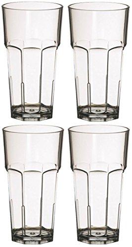 Set 4x Trinkgläser 400ml Polycarbonat Kunststoff bruchsicher stapelbar Polycarbonat Drinkware