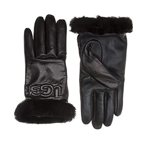 UGG® Leather Logo Mujer Guantes Negro
