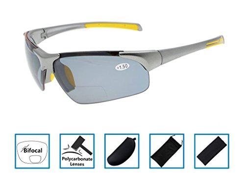 Gr8Sight UV400 Wraparound Designer Style Sport Half-Rimless Tinted Bifocal Lesebrille Sun Leser mit Fall Männer Frauen Grauer Rahmen Grau Objektiv +1.50 (Männer Lesebrille Sun-leser)