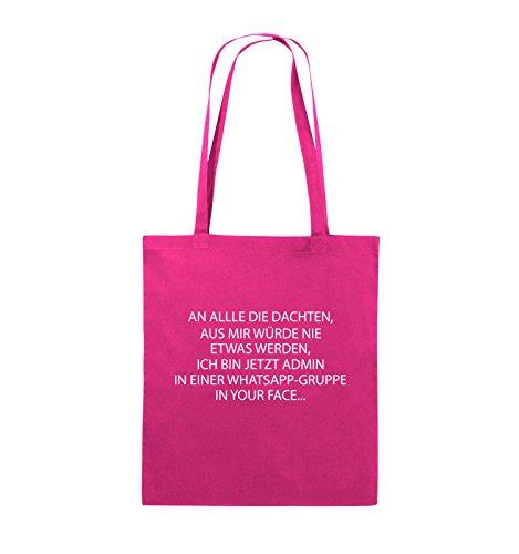 Comedy Bags - ADMIN WHATSAPP GRUPPE - Jutebeutel - lange Henkel - 38x42cm - Farbe: Schwarz / Pink Pink / Weiss
