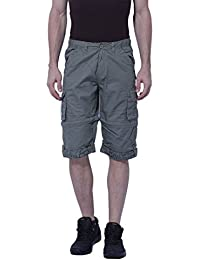 BEEVEE Mens Light Olive Solid Detachable Cargo Three-fourth Length Shorts, Cotton Fabric,elasticated Waistband...