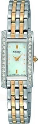 SEIKO SUJG55P9 - Reloj analógico de cuarzo para mujer con correa de acero inoxidable, color plateado