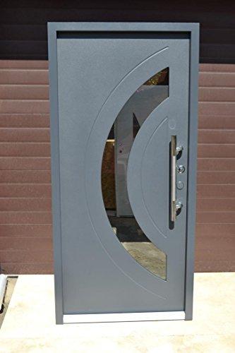 Nr.3, Design Haustür, Wohnungstür in Anthrazit 1000x2100 mm, Innen DIN rechts, Exklusive Haustür 100x210cm Türen Stoßgriff Haus-Eingangstüren Anthrazit