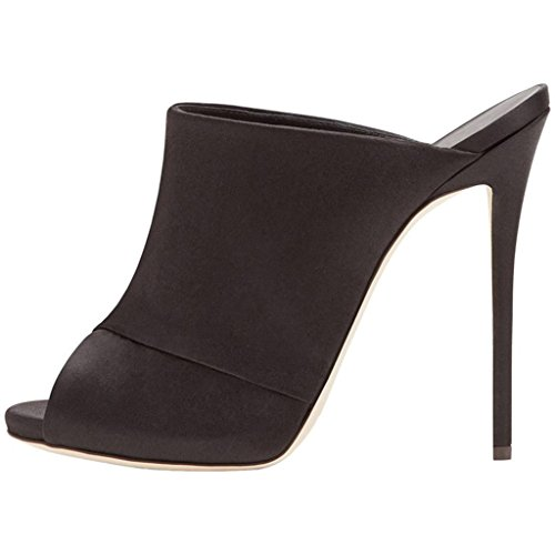 LYY.YY Frauen Super High Heel Schwarz Sardini Sandalen Hausschuhe Mules Schuhe Slipper (Ferse Höhe: 12-13 cm),Black,44