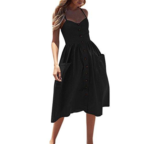 Damen Lose Freizeitkleid, Sumeiwilly Sexy Knöpfe Solide Schulterfrei Ärmelloses Kleid Prinzessin Kleid Mode Frauen Elegant Beiläufige Maxikleid Große Größe Strandkleid Partykleid - Schlankheits-cocktail-kleidern