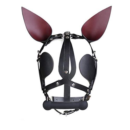 BESTOYARD Fetisch Kopfmaske Bondage Maske Cosplay Kostüm Haube mit Ohren für Paare (Schwarz)