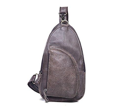 Echtes Leder Männer Sling Bag Brust Outdoor Sport Schulter Paket (Hobo Sling-rucksack Leder Echtes)