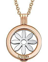 Quiges 70cm Collier Set Plaqué Or Rose Acier Inoxydable avec Pendentif and 25mm Coin