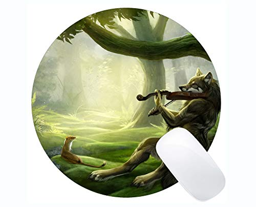Yanteng Gaming Round Mouse Pad Benutzerdefinierte, Tierwolf Uhr Gaming Mousepad Mat