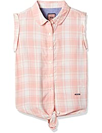 Lee Cooper Girls' Striped Slim Fit Cotton Shirt (1000713957002_Pink_5-6)