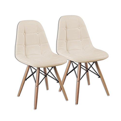 (EZS03) 2er Set Esszimmerstuhl Essgruppe Küchenstuhl Essstuhl Sitzgruppe Gastro Stühle (Beige)