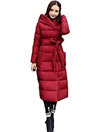 Queenshiny thick Long Women's Down Coat hooded slim with belt Goose down filling winter uk size from 8--14 S M