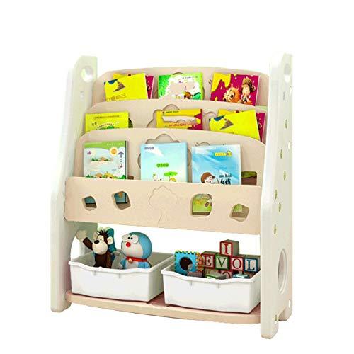 Baoffs Spielzeug- und Bücherregal Toddlers Toy Storage Organizer mit Kunststoffkörben für das Kinderspielzimmer Aufbewahrungseinheit für Kinder Kinderzimmer (Farbe : Weiß, Größe : 80 * 35 * 95CM) -
