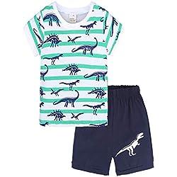 Yanhoo Kinderkleidung, Kindermode Jungen Kurzarm T-Shirt Top Cartoon Print + Hosen Zwei Stück Baby Born Kleidung Set