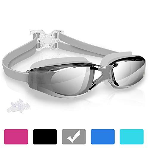arteesol Schwimmbrille, Anti Fog Schwimmbrille Kristallklare 180 ° Panoramasicht Verspiegelt mit 100% UV-Schutzbeschichtung mit Schutzhülle und Ohrstöpsel für Erwachsene und Kinder (Grau)