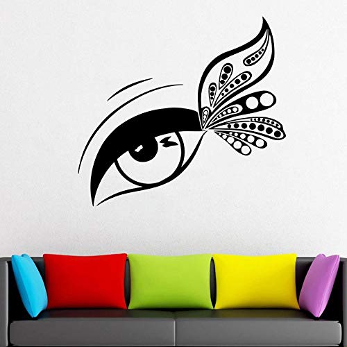 guijiumai Wimpernverlängerung Aufkleber Fenster Vinyl Aufkleber Schönheitssalon Wimpern Wimpern Augenbrauen Brauen Tapete Make Up R46X42CM