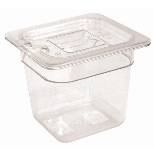 Vogue 1/6GN-Behälter 65mm 1,05Liter klar Catering Lebensmittel Aufbewahrung Pfanne (Klare Behälter Für Lebensmittel)