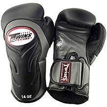 Guantes de boxeo de cuero profesional con amortiguación innovadora la parte externa / negro-gris, Onzas:16 oz