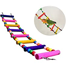 Itian Divertido Columpio de Madera Escalera de Pájaro del Poro, Puente Arrastrándose Estante del Juguete de la Jaula (8 Conductores)