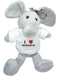 Elefante de peluche (llavero) con Amo Mordecai en la camiseta (nombre de pila/apellido/apodo)