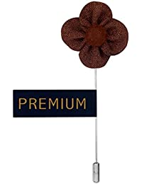 Peluche The Four Petal Classic Flower - Brown Colored Brooch / Lapel Pin For Men | Genuine Branded Product