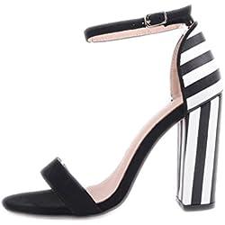 Las mujeres sandalias de tacón zapatos de moda mujer Zapatos de rayas de cebra concisa señoras hebilla sandalias de tacón negro 7.5