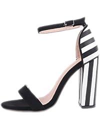 Las mujeres sandalias de tacón zapatos de moda mujer Zapatos de rayas de cebra concisa señoras