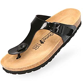 BOnova Damen Zehen-Trenner Ibiza in 14 Farben, stylische Pantolette mit Kork-Fußbett - Sandalen zum Wohlfühlen - hergestellt in der EU schwarz 35