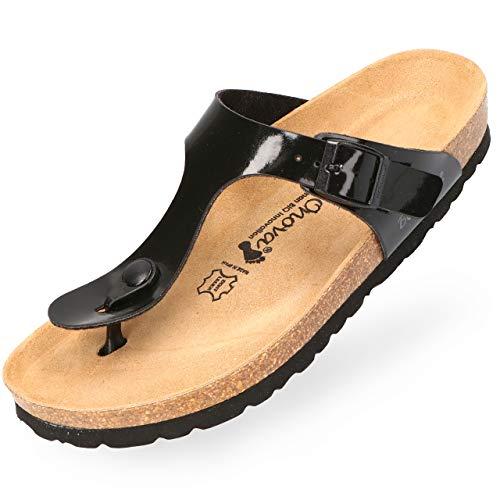 BOnova Zehentrenner Damen Ibiza in 14 Farben, stylische Pantolette mit Kork-Fußbett Sandalen zum Wohlfühlen schwarz Lack 39 - Schwarze Spitzen Zehen-schuhe