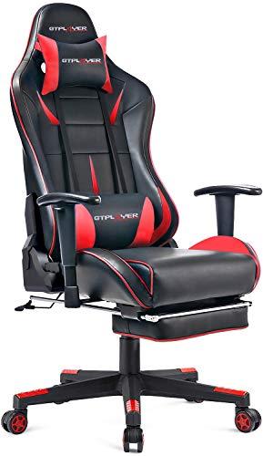 GTPLAYER Gaming Stuhl mit Fußstützen Bürostuhl Schreibtischstuhl Kunstleder Drehstuhl höhenverstellbarer Gamer Stuhl Ergonomisches Design Wippfunktion(Rot)