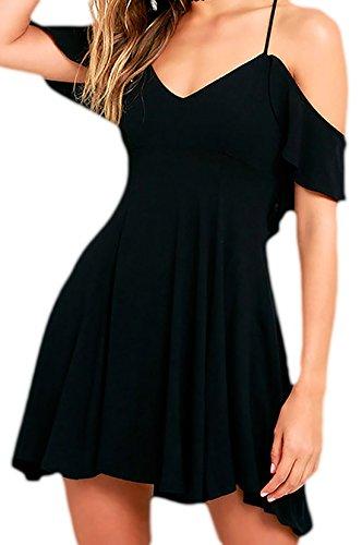 erdbeerloft - Damen kurzes Skaterkleid mit dünnen Trägern, rückenfrei, 34-38, Viele Farben Schwarz