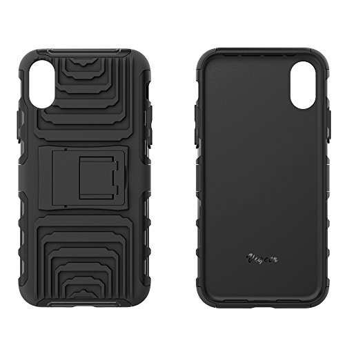 Custodia IPhone X, Vigeer [Non antiscivolo] [Soft TPU Interior] [Durable PC Exterior] Custodia protettiva protettiva completa per custodia protettiva, custodia resistente agli shock a doppio strato per IPhone X (Nero)