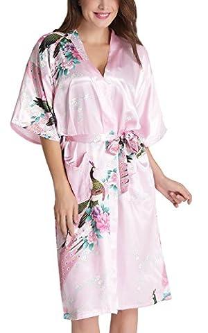 Aibrou Femme Motif Exotique Paon Fleur Kimono chemise de nuit Satin Peignoir (Large, longue Rose Clair)
