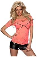 5807 Fashion4Young Damen Kurzarm Shirt aus weichem Stretch-Stoff Netz verfügbar in 10 Farben und in 2 Größen