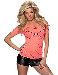 Fashion4Young 5807 t-shirt à manches courtes pour femme en tissu stretch et disponible en 10 coloris et 2 tailles