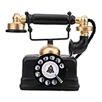 KEYREN Resin Retro Antique Phone Wired Corded Landline Telephone Ornaments Vintage Retro Antique Phone Wired Corded Landline Telephone Home Desk Decor Ornament